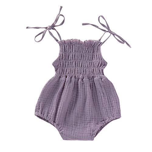 ZOELNIC Baby Girls Sleeveless Romper Toddler Girl Floral Bow Halter + Headband (Purple, 6-12 Months)
