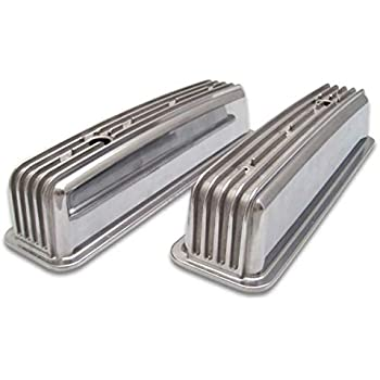 Pair VPAVCBYAA Vintage Big Block Chevy Finned Valve Cover with Breather Hole