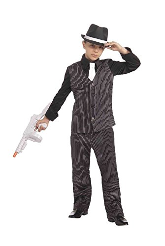 [Lil' Gangster Suit Pimp Mob Roaring 20's Capone Child Boys Halloween Costume] (Pimp Hat With Feather)
