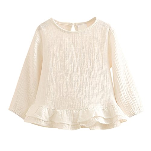 - Colorful Childhood Toddler Girls Ruffle T Shirt Princess Little Girl Cotton Blouses Spring Tops White Size 5-6T
