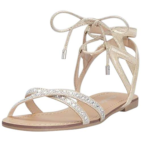 Ankle-Tie Jeweled Crisscross Sandals Style RAE, Champagne, 8