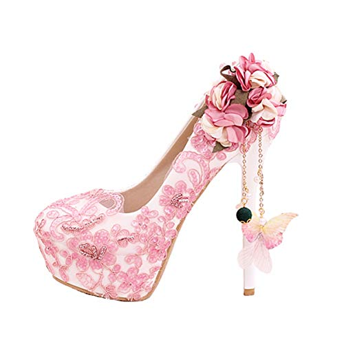 23998b6189b GTVERNH Women's Shoes/Diamond Lace Flower 14Cm High Heel Shoes Round Head  Shallow Mouth Waterproof Table Wedding Shoes Single Shoes.Thirty-Seven