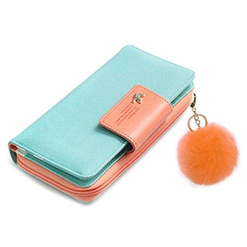 - Wallet-NEWANIMA Women Lady Multi-card Two Fold Long Zipper Clutch Purse Handbag With Keychain (Skyblue)