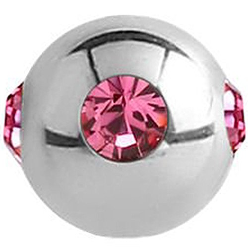 Surgical Steel Jewelled Satellite Micro Ball - Pink ()