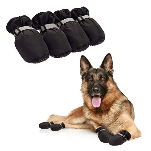 - Dog Shoes for Large Dogs - Waterproof Dog Boots Paw Protectors with Reflective and Adjustable Straps, Anti-Slip for Indoor & Outdoor Wear