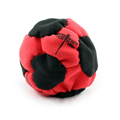 Dragonfly Footbags Red and Black Probe 14 Panel Sand Filled (Hacky Sack)