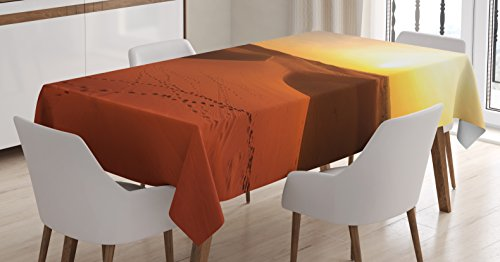Desert Tablecloth by Ambesonne, Footprints on Sand Dunes at Sunrise Hot Dubai Landscape Travel Destination, Dining Room Kitchen Rectangular Table Cover, 52 W X 70 L Inches, Dark Orange Yellow