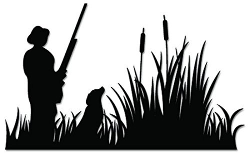 Hunting Dog Decal (Duck Hunting Hunter Dog Vinyl Decal Sticker For Vehicle Car Truck Window Bumper Wall Decor - [15 inch/38 cm Wide] - Matte BLACK Color)