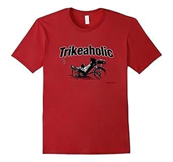 Mens Trikeaholic Recumbent Trike Tee Shirt 2XL Cranberry