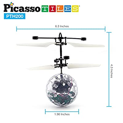 PicassoTiles Flying Ball Helicopter Toy Drone AI Control Suspension Artificial Intelligent Infrared Induction Self Lifted Aircraft with Motion Sensor Built-in Rechargeable Battery Flashing LED PTH200: Toys & Games