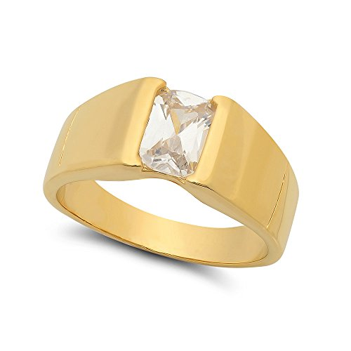 The Bling Factory 12mm 14k Gold Plated Bezel Set Baguette-Cut Clear CZ Solitaire Ring, Size 10 + Jewelry Polishing Cloth