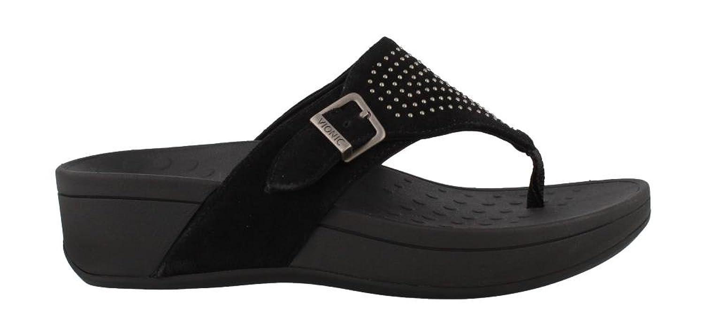 Amazon.com | Vionic Pacific Capitola Women Open Toe Leather Gray Flip Flop  Sandal | Sandals