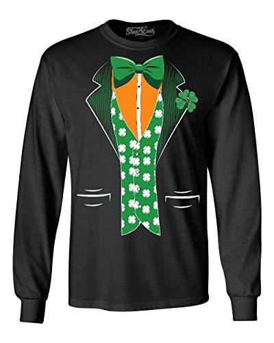 Shop4Ever St. Patrick's Day Irish Tuxedo Men's Long Sleeve Shirt Large Black - Tuxedo Day Patricks