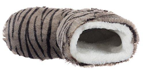 Antidérapante Motif 2 Pour Semelle Gris Tiger Avec Animaux Femme Brandsseller Chaussons qpZXwYY