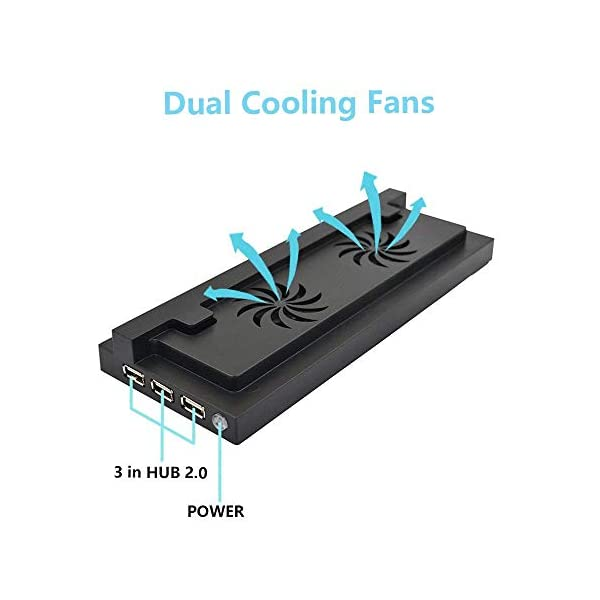 Xbox One S Vertical Stand with Cooling Fan, ELM Game Console Stand for Xbox One S with 3 USB Ports 3