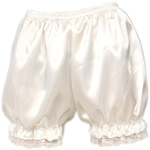 Lace Satin Bloomers - Patiky Womens Lolita Lace Pumpkin Pants Bloomers Shorts Cute Security Short Pants for Girl NK02 (White)