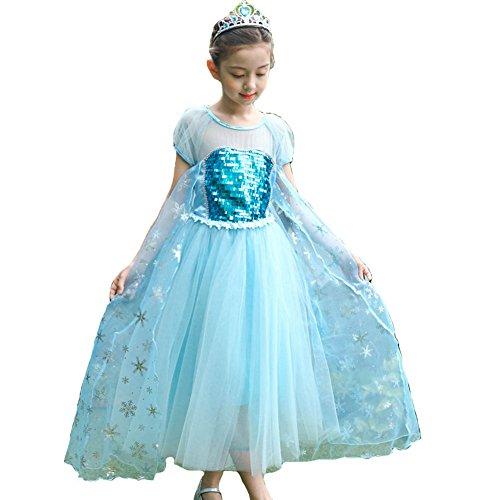 KUFV Girls Snow Queen Costume Snow Princess Dress 2-7 Years