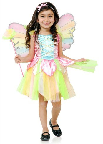 Rainbow Fairy Adult Costumes (Charades Rainbow Princess Fairy Costume, NA, X-Small/Small)