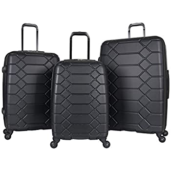 Image of Aimee Kestenberg Women's Diamond Anaconda 3-Piece Set: 20', 24', 28', Black/Silver Luggage