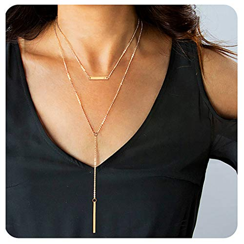 Suyi Multilayer Boho Bar Y Necklace Heart Stamp Hanging Stick Pendant Chain Layered Choker Necklace for Lady Girl (Delicate Pendant)
