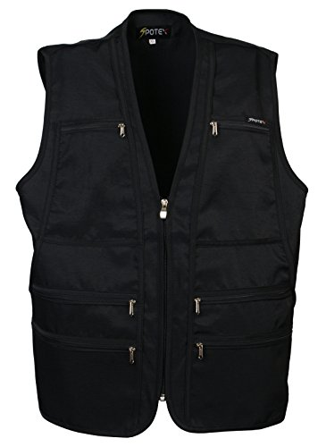 Men's 9 Pockets Work Utility Vest Military Photo Safari Travel Vest (XS, Black)]()