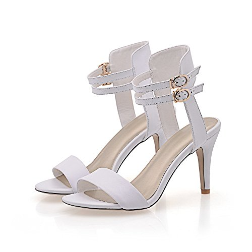 AmoonyFashion Womens Buckle High Heels Cow Leather Solid Open Toe Sandals White KmBTR