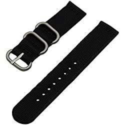 TRUMiRR 22mm Ballistic Nylon Watch Band Zulu 2 Pieces Strap for Samsung Gear S3 Classic Frontier,Gear 2 R380 R381 R382, Moto 360 2 46mm 2015, Pebble Time/Steel, Asus Zenwatch 1 2 Men, LG G Watch BLACK
