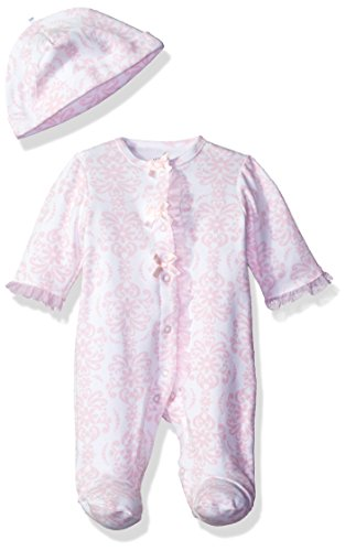 Damask Baby Girl Clothes (Little Me Baby-Girls Newborn Damask Scroll Footie and Hat, Pink/Multi, Preemie)