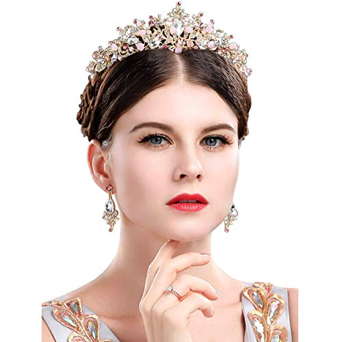 Gold Princess Crown Tiara with Matching Earring Set | Sparkly Coral Reef Shaped Design + 2 FREE Hair Pins (Pink CZ Crystals)