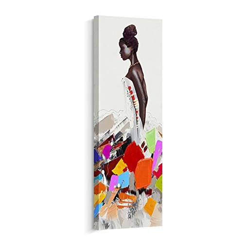 (Crescent Art Framed African American Black Art Dancing Black Women in Dress Wall Art Painting on Canvas Print Wall Picture for Home Accent Living Room Wall Decor (12 x 36 inch, B))