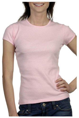 Bella+Canvas Ladies' Baby Rib Short-Sleeve Crew Neck Tee - Pink - L