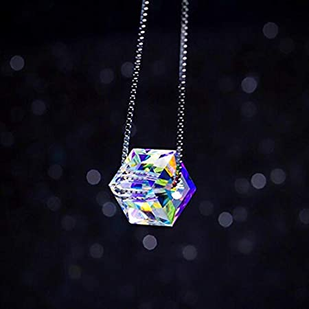 Davitu Jewerly 925 Silver Necklace Natural Crystal Pendants Creative Charms Mom Women Birthday Gift Chain Collier Femme Choker Kolye Metal Color: Square-6mm, Length: 15.7inch