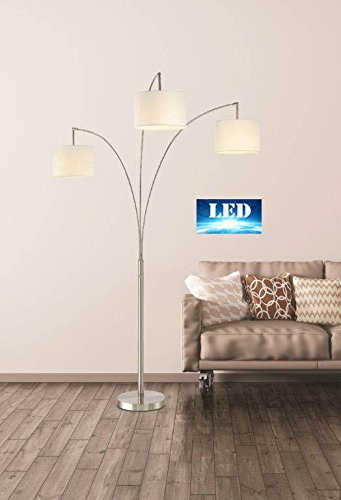 Artiva USA LED602108FSN Lumiere Modern LED 80'' 3-Arched Floor Lamp with Dimmer, Brushed steel