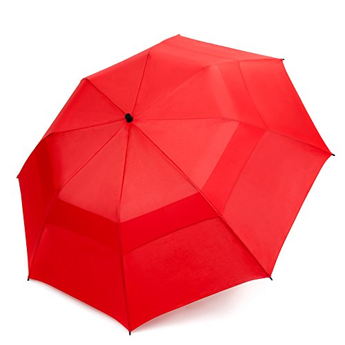 EEZ-Y Folding Golf Umbrella 58-inch Large Windproof Double Canopy - Auto Open, Sturdy and Portable (Red)