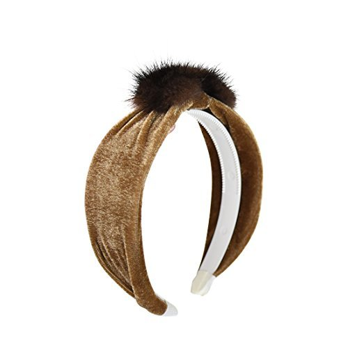 - Velvet and Fur Tapered Headband - Brown by DaCee Designs Accessories