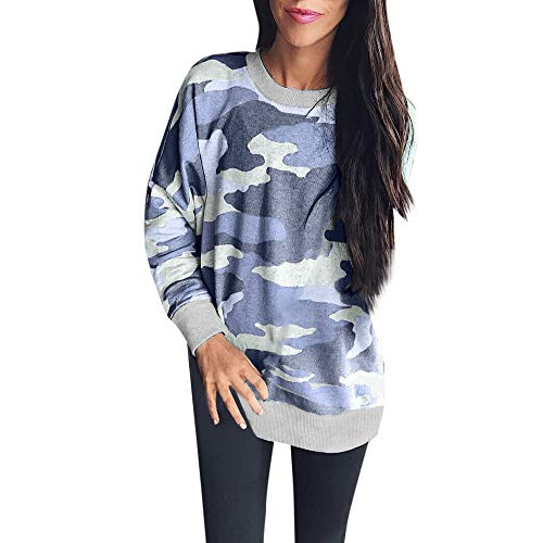 Women Long Sleeve Top Blouse Camouflage Casual Loose T Shirt Pullovers