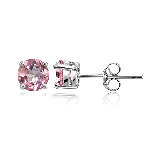 Sterling Silver Treated Light Pink Topaz Round Stud Earrings, 6mm