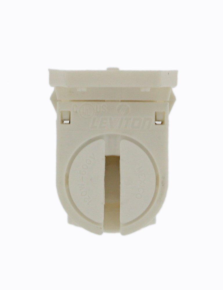 Fluorescent Lampholder Leviton 23654-SNP Miniature Base White with Panel T5 Bi-Pin