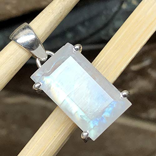Natural Rainbow Moonstone 925 Solid Sterling Silver Emerald Shape Pendant 27mm long ()