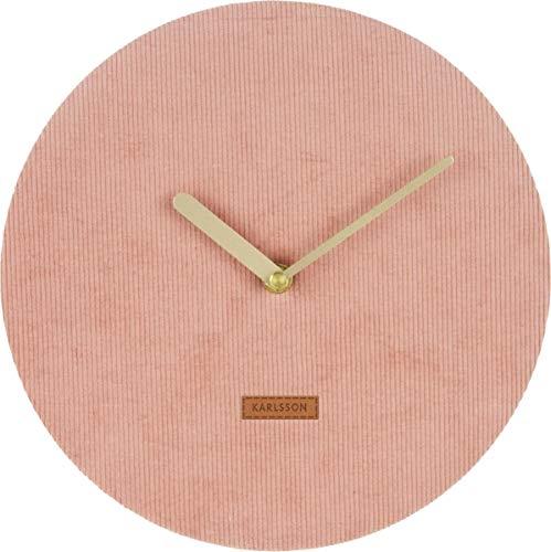 Karlsson Wall Clock, Corduroy, Pink, One Size