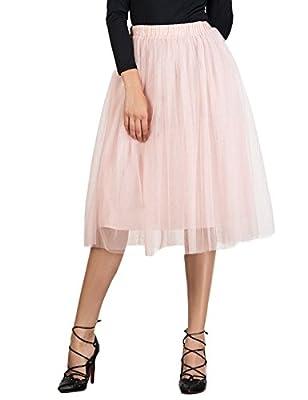 Choies Women's Tulle Tutu Skirts Elastic Waist Princess Mesh Tulle Skirt