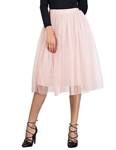 Choies Women's Tulle Tutu Skirts Pink Elastic Waist Mesh Tulle Skirt S