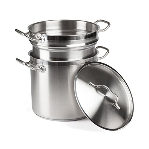 FortheChef 12 Qt. Stainless Steel Induction-Ready Double Boiler with Cover