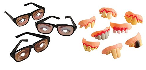 Kid Fun Funny Disguise Glasses Rotten Teeth Toy Party Favor Supplies 24 Piece Set Bundle for 12 ()