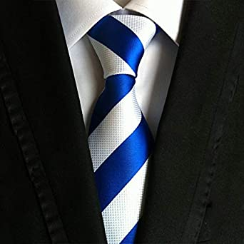AKJC Corbata De Hombre Cuello De Corbata A Rayas Azules Y Rojas De ...