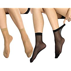 MANZI 12 Pairs Women's Ankle High Sheer Socks (6 Pairs Black,6 Pairs Tan)