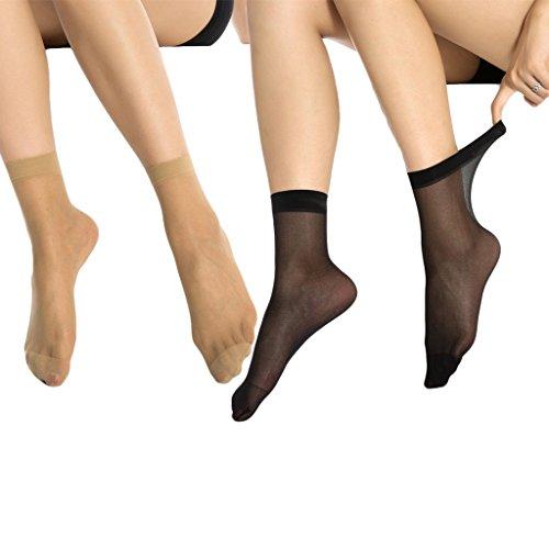 MANZI 12 Pairs Women's Ankle High Sheer Socks (6 Pairs Black,6 Pairs Tan)