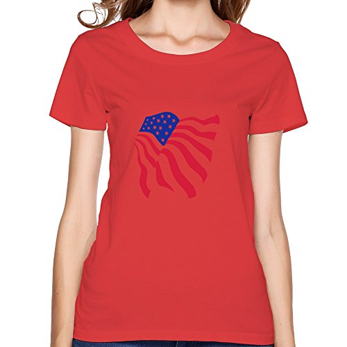 EnHui Design Boyfriends USA Flying Flag Stars And Stripes O Neck T Shirts XX-Large Red