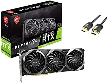 MSI GeForce RTX 3060 Ventus 3X OC Graphics Card 12GB GDDR6 PCIe 4.0 Triple-Fan Thermal Design Ampere Streaming Multiprocessors 1xHDMI 2.1 3xDisplayPort 1.4a w/ Mytrix HDMI 2.1 Cable(4k@120Hz/8K@60Hz)