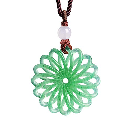 (iSTONE Green Jade Pendant Necklace 3D Hand Carved with Black Adjustable Rope)